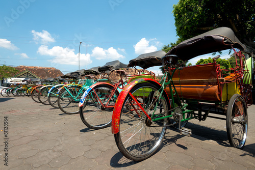 Foto op Canvas Indonesië Rickshaws in Yogykarta, Indonesia