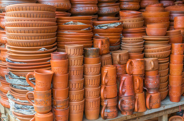 Beautiful handmade clay pots with arts