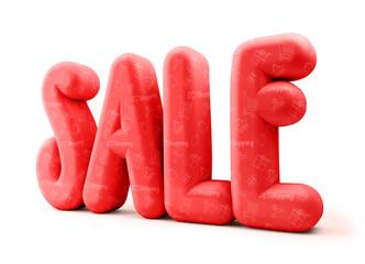 3D Rendered Illustration of Red Sale Word Title