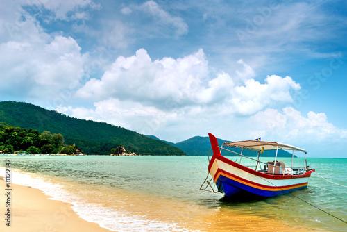 Leinwandbild Motiv Beach Scene in Penang, Malaysia