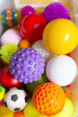 Large number of colorful plastic toy balls