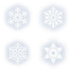 Snow mark of snowflakes on white set
