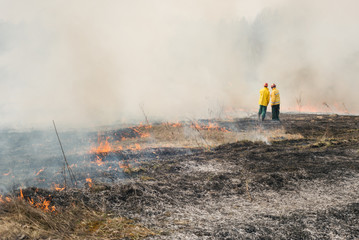 Fire fighters on charred or burned terrain