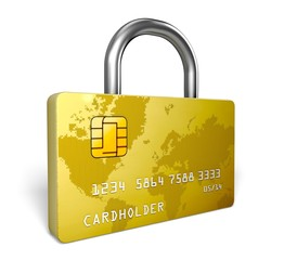 Credit Card. 3D. Credit card security lock