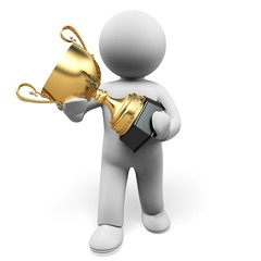 Award. 3D. Trophy gold