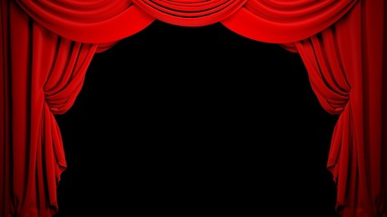 Curtain. 3D. Bright Drapes on Black