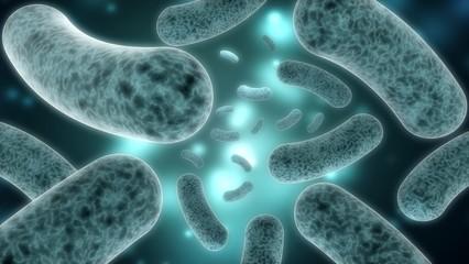 Bacterium. 3D. Bacteria closeup