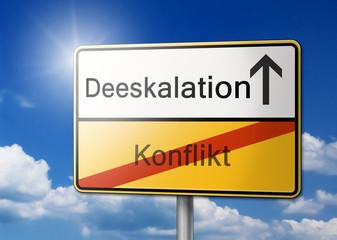 Deeskalation Konflikt lösen schild
