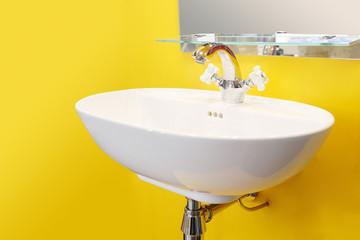 White washbasin isolated on white background