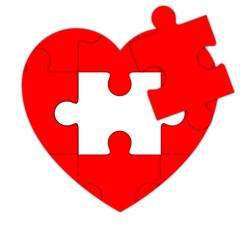 Icono puzzle de corazon recortado