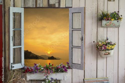 Naklejka Window sea view