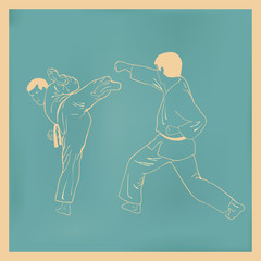 Two men are engaged karate, an illustration.