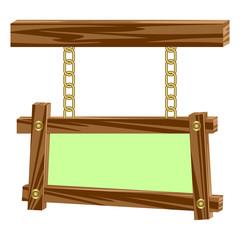 Wooden frameworks on chains.