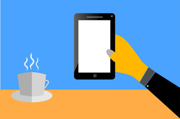 Hand - Hold a Blank Smartphone and a Cup of Coffee
