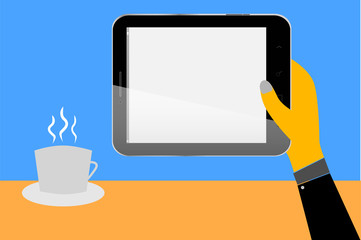 Hand - Hold a Blank Tablet and a Cup of Coffee