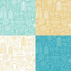 Vector seamless pattern with linear travel icons