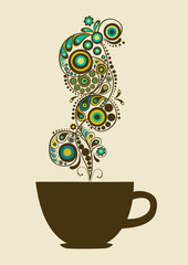 Card with cup and abstract steam