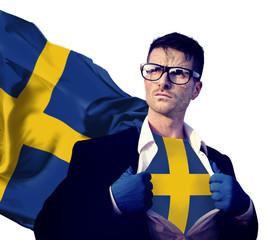 Businessman Superhero Country Sweden Flag Culture Power Concept
