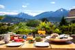 Leinwanddruck Bild - Frühstück in den Alpen