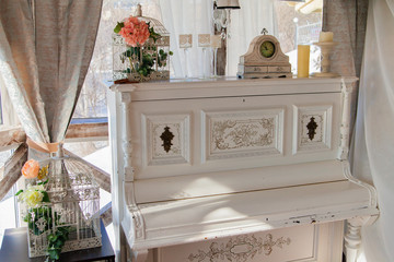 Luxurious old fashioned piano in the vintage style