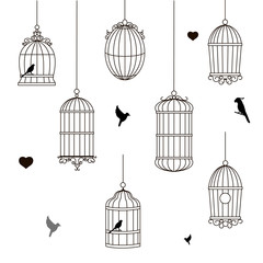 set of different style bird cage