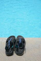 tourism pair sandals poolside