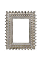 Weathered silver picture frame isolated with clipping path