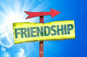 Friendship sign with sky background