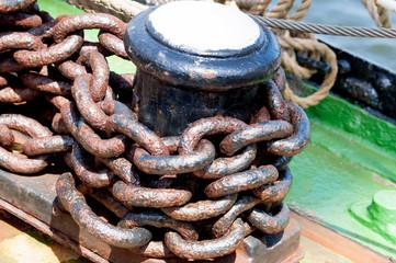 Rusty ship chain. Heavy rusted metal chain