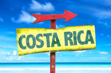 Fototapety Costa Rica sign with a beach background