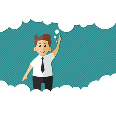 Businessman with a thought bubble made of clouds. the idea of a