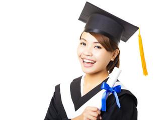 happy young woman graduating holding diploma