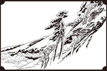 歌川広重 東海道五拾三次 亀山 雪晴イメージイラスト