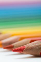 Colored pencils line up