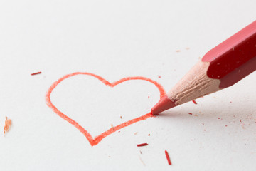 Love heart drawing with pencil for valentines message