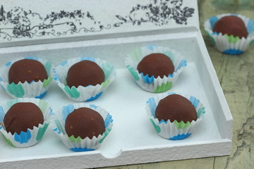 Homemade natural  chocolates with marzipan  .