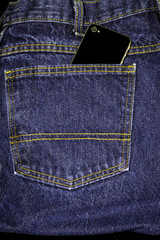 denim jeans with a phone in pocket