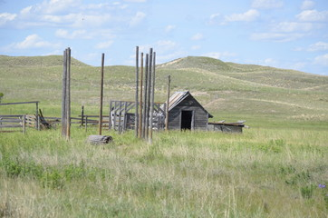 Rustic shelter on the prairie