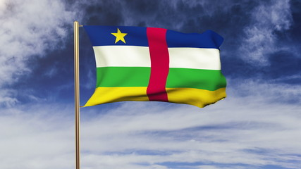 Central African Republic flag waving in the wind. Green screen