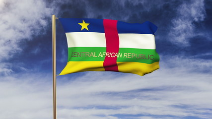 Central African Republic flag with title waving in the wind