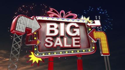 'Big Sale' sign in led light billboard.