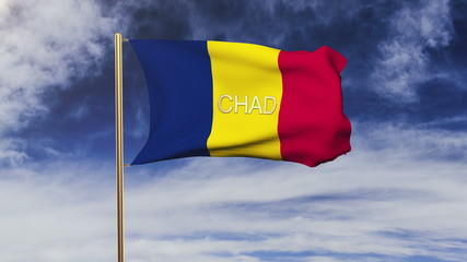 Chad flag with title waving in the wind. Looping sun rises style