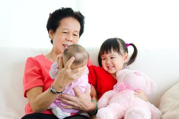 Asian senior woman and her grandchildren