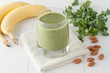 green smoothie with kale, bananas and almonds - 81142397