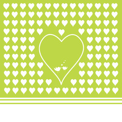 green background with heart shapes