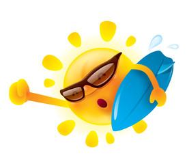 Summer sun holding a surfer board
