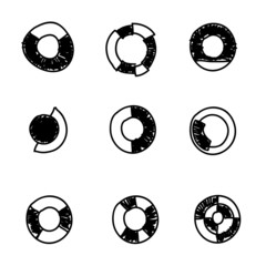 Doodles icons. Set of  circle diagram. Business chart elements