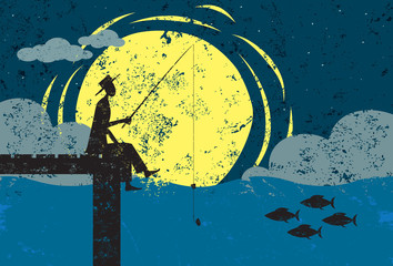 Fishing on a dock in moonlight