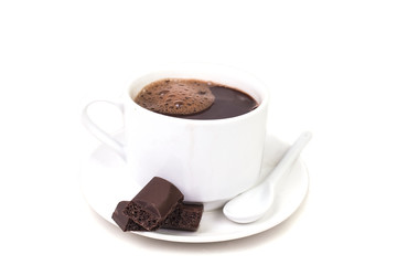 delicious hot chocolate drink with two pieces of chocolate