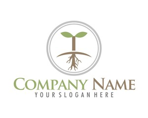 root shoot sprout plant logo icon vector